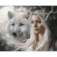 Картина по номерам Девушка и волк, размер 50*40 см, зарисовка полная