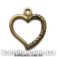 """Метал. подвеска """"сердце"""" бронза (2,2х2,5 см) 8 шт в уп."""