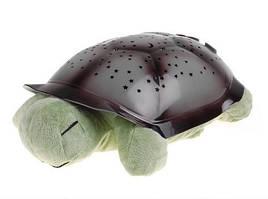 Ночник проектор звездного неба, светильник Черепаха, со звуком, цвет - хаки