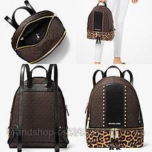 Рюкзак Michael Kors Rhea medium studded logo and leopard calf hair backpack