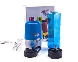 Блендер для напоїв, подрібнювач, Shake n Take, з пляшкою, колір - синій