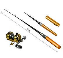 Удочка ручка, телескопическая, Fishing rod in pen case, с катушкой, леской, блесной, фото 3