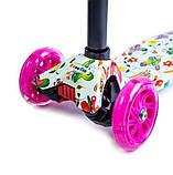 Самокат трехколесный детский Maxi светящиеся колеса принт Butterfly, фото 2