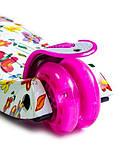 Самокат трехколесный детский Maxi светящиеся колеса принт Butterfly, фото 3