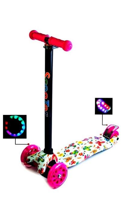 Самокат трехколесный детский Maxi светящиеся колеса принт Butterfly
