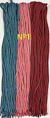 Шнурок простой круглый.Диаметр 5 мм Длина 100 см №1 - красно-белый + черно-голубой + черно-красный