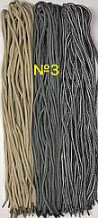 Шнурок простой круглый.Диаметр 5 мм Длина 100 см №3 - светло/серый-темно/серый + черно-белый + светло/бежевый