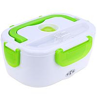 Контейнер для еды с подогревом, ланч бокс, с секциями, YS-001, с кабелем для сети 220V, цвет-зелёный
