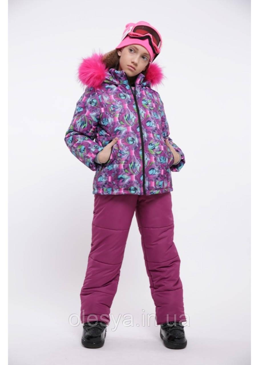 Зимний комплект куртка + комбинезон фиолетовый размеры 38 40 42