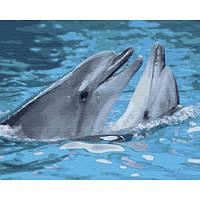 Картина по номерам Дельфины, размер 50*40 см, зарисовка полная