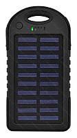 Внешний акумулятор Power bank UKC PB-263 10000 mAh с солнечной панелью и фонариком + карабин Черный