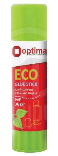 Клей-карандаш 36гр OPTIMA ECO перманентный, PVP основа, белый O45216