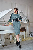 Элегантное женское платье приталенного силуэта зеленое, фото 1