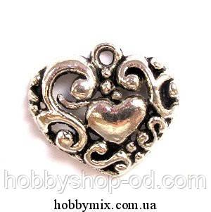 "Метал. подвеска ""сердечко"" серебро (2,1х1,8 см) 8 шт в уп."