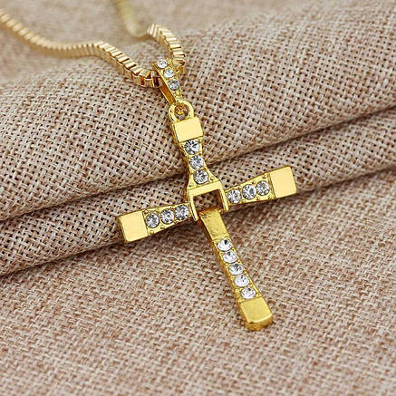 Крест Доминика Торетто с цепочкой, золотистый, фото 2