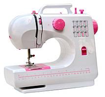 Багатофункціональна міні швейна машинка FHSM-506 Tivax, біло-рожева
