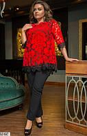 Костюм тройка (лосины+майка+туника) нарядный красивый женский летний больших размеров 48-58,