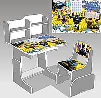 """Парта школьная ЛДСП ПШ 032 """"Бэтмен"""" (69*45 см), цвет титан (парта+1 стул)"""