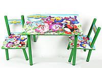 Набор детской деревянной мебели Столик + 2 стульчика Смешарики