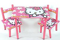 Набор детской деревянной мебели Столик + 2 стульчика Hello Kitty