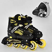 """Ролики 5800 """"L"""" Best Roller желтые (размер 39-42), колёса PU, переднее колесо свет, в сумке d=7 cм"""