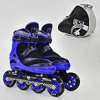 """Ролики 6014 """"M"""" Blue - Best Roller (размер 35-38), колёса PU, без света, d=8.4 см"""