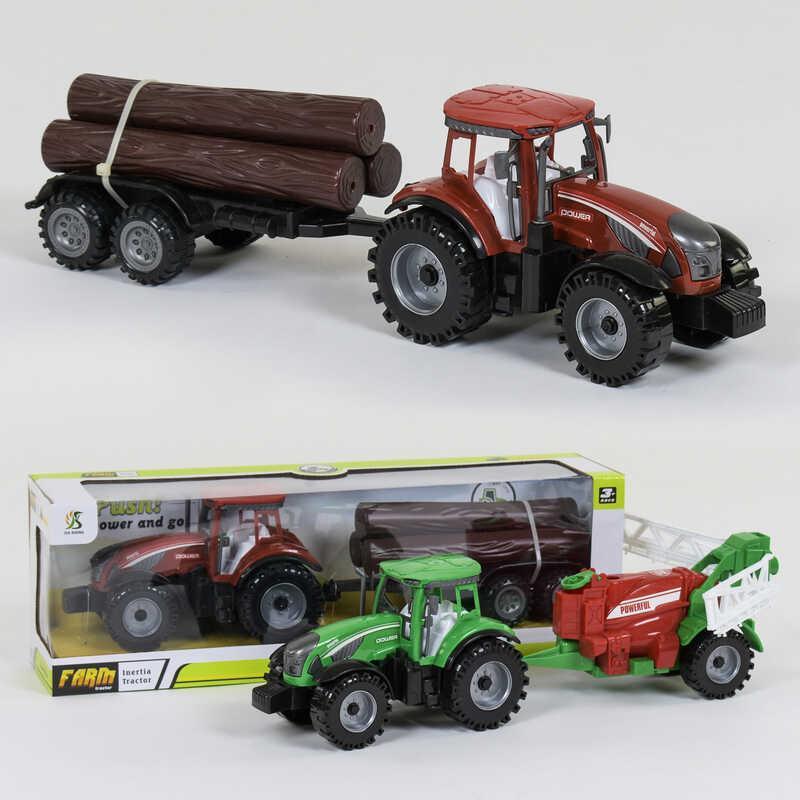 Трактор з причепом 0488-305 / 0488-306 (36/2) 2 види, інерція, в коробці