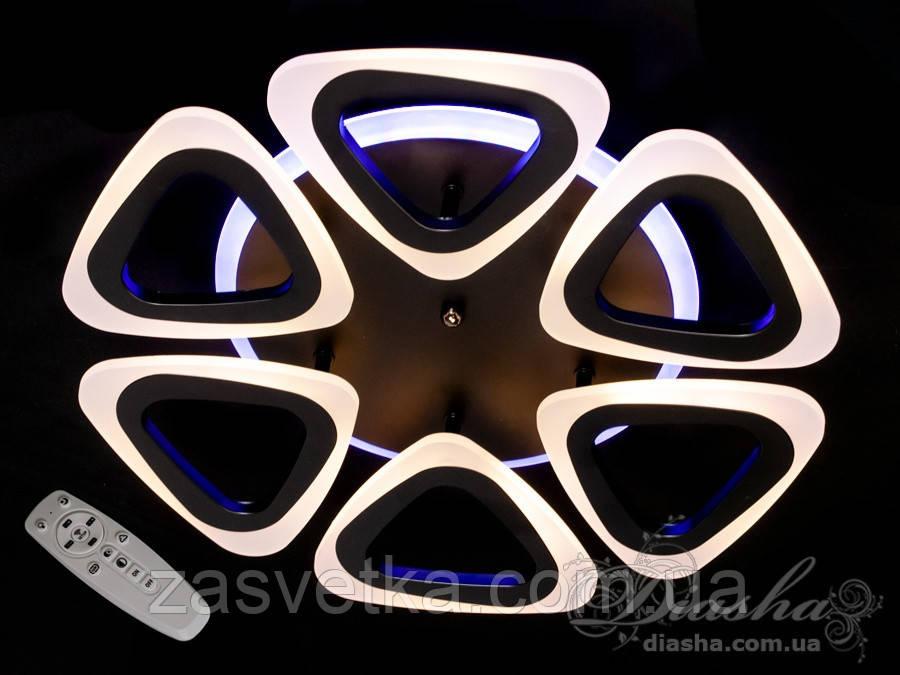 Потолочная люстра с диммером и LED подсветкой, 80W A8118/6CF LED 3color dimmer (белая,черная,коричневая)
