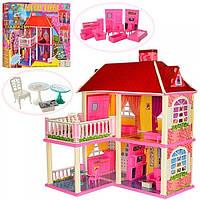 Домик для кукол 2-х этажный, с мебелью