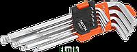 Набор шестигранных ключей 1, 5-10мм с шаровым наконечником L 9шт, TACTIX [INSKLKLHX09000BLT0]