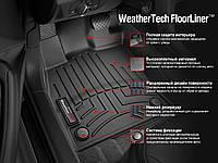Коврики в салон Audi A6, S6 (C7) 2012 - 2018, A7, S7 (4GA, 4GF) 2012 - 2018, серые, резиновые (WeatherTech, W300GR) - передний ряд