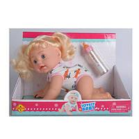 Кукла DEFA 5101B  31см, звук(англ),ползает,реаг.на хлопок,бутылочка,бат, в кор-ке, 32-24-17,5см