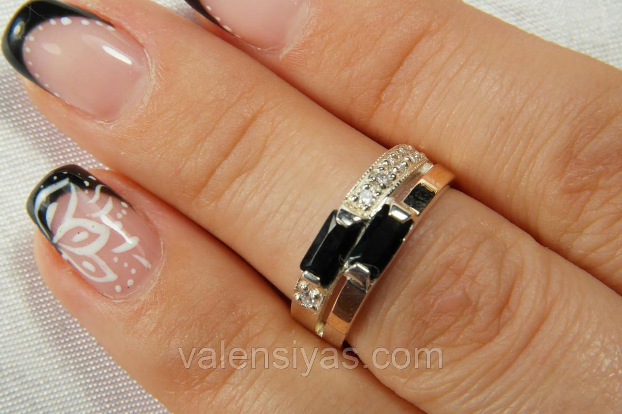 Кільце з срібла з чорним фианитом і золотом