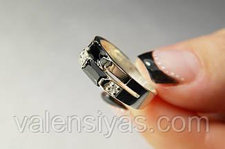 Кільце з срібла з чорним фианитом і золотом, фото 2