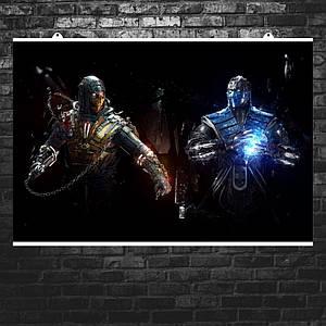 "Постер ""Mortal Kombat: Sub-Zero vs Scorpion"". Мортал Комбат, Сабзиро, Скорпион. Размер 60x40см (A2). Глянцевая бумага"
