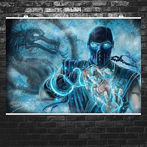 "Постер ""Mortal Kombat. Саб-Зиро держит сердце"". Sub-Zero, MK, Мортал Комбат. Размер 60x42см (A2). Глянцевая бумага"