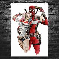 """Постер """"Deadpool and Harley Quinn"""". Дэдпул, Дедпул, Харли Квинн. Размер 60x42см (A2). Глянцевая бумага"""