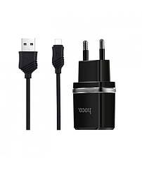 Сетевое зарядное устройство 2USB Hoco C12 Black + USB Cable MicroUSB (2.4A)