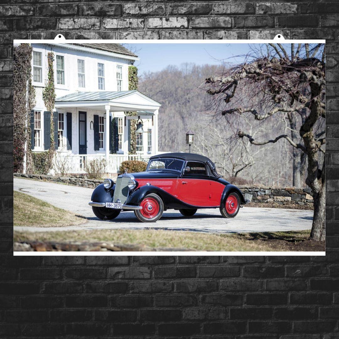 """Постер """"Ретроавто Mercedes-Benz 1936-42 170 V Cabriolet A"""". Размер 60x40см (A2). Глянцевая бумага"""