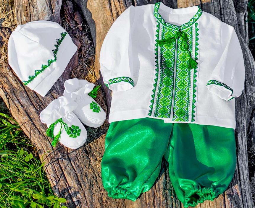 """Вышитый костюм с шароварами """"Богатырь"""" с манжетами и стоечкой"""