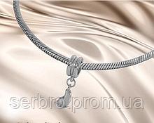 Родированый шарм для браслета серебро Ножка