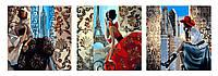 Картины по номерам 50х150 см. Триптих Гламурная жизнь Художник Триш Биддл