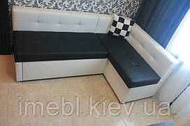 Кухонный раскладной угловой диванчик в кожзаменителе (Чёрно-белый)