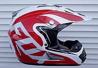 Кроссовый мото шлем Fox бело красный + текстильная маска