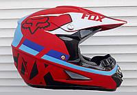Кроссовый мото шлем Fox красный матовый + текстильная маска