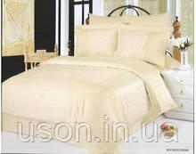Комплект постельного белья Le Vele евро из жаккарда с вышивкой Beatrice cream