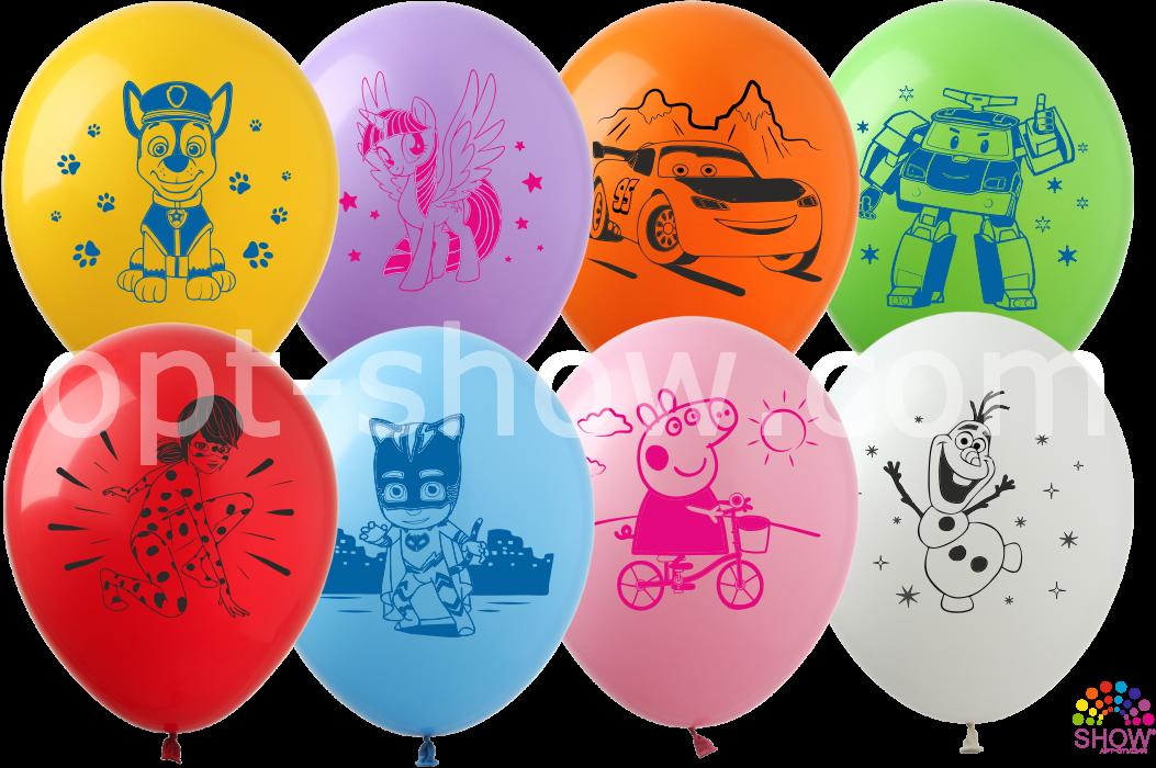 """Латексные шары 12"""" (30 см) Мультяшки, 10 шт"""