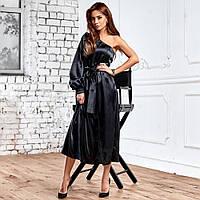 Жіноче асиметричне атласне плаття чорне, фото 1