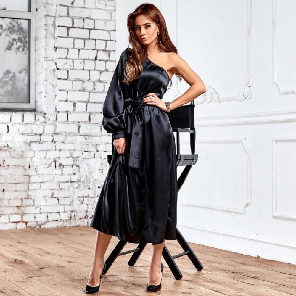 Жіноче асиметричне атласне плаття чорне