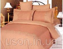 Комплект постельного белья Le Vele евро из жаккарда с вышивкой Beatrice terracotta